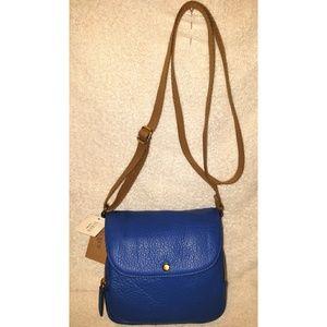 New blue leather crossbody handbag
